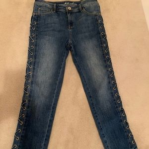 """INC Straight Leg """"Laced"""" Side Jeans"""